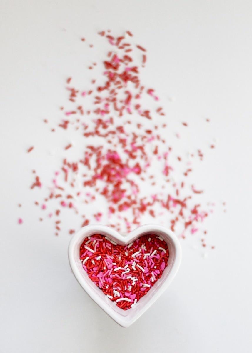 heart baking sprinkles red pink